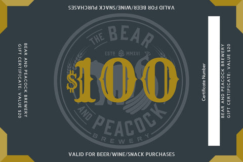 $100 Bear and Peacock Brewery Gift Card