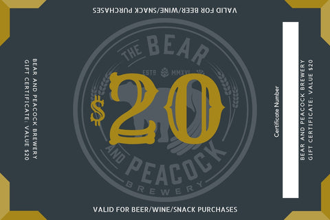 $20 Bear and Peacock Brewery Gift Card
