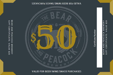 $50 Bear and Peacock Brewery Gift Card