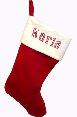 Personalized - Monogrammed - Christmas Stocking - Machine Embroidery