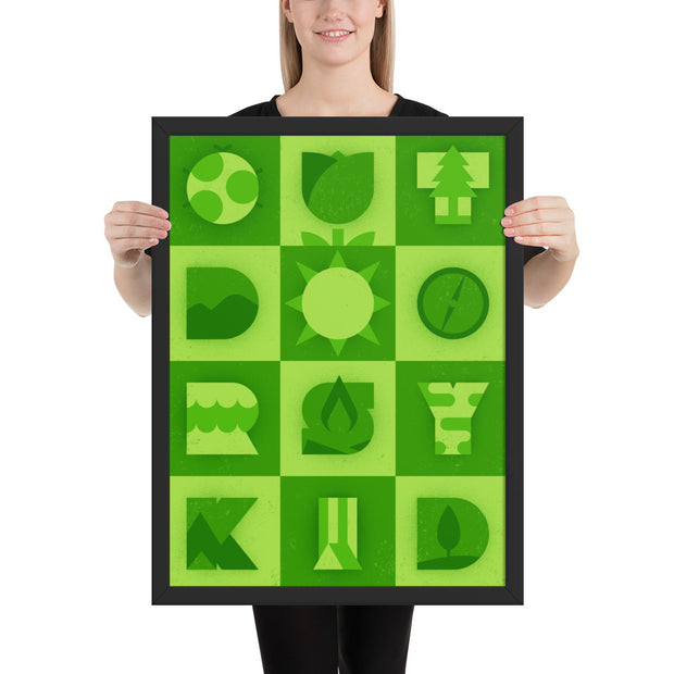 Outdoorsy Kid - Green - Framed photo paper print