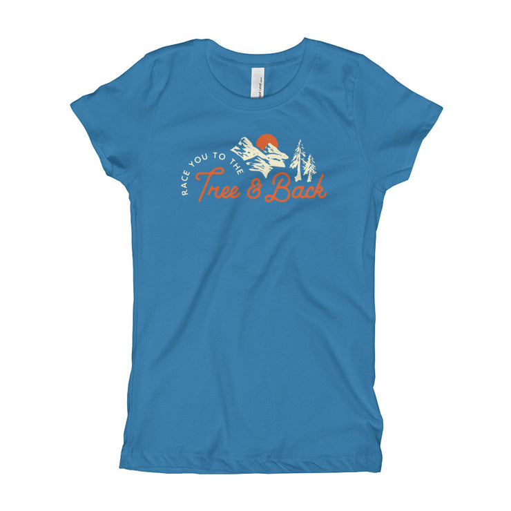 Tree And Back Mantra - Blue - Girls - Youth Short Sleeve T-Shirt