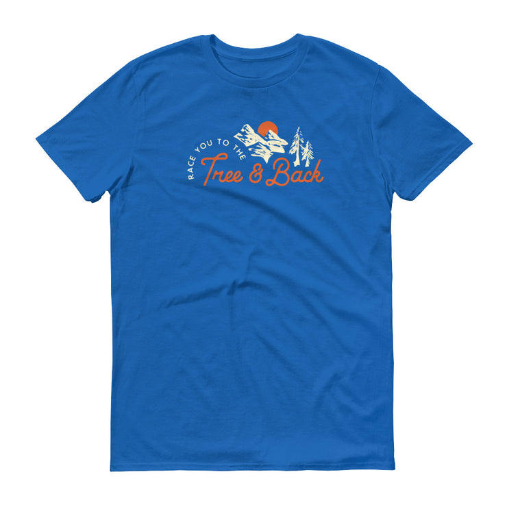 Tree And Back Mantra - Blue - Unisex - Adult Short Sleeve T-Shirt