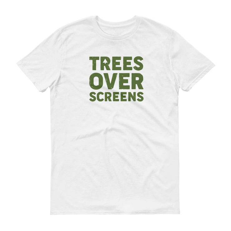 Trees Over Screens - White - Forest - Unisex - Adult Short Sleeve T-Shirt
