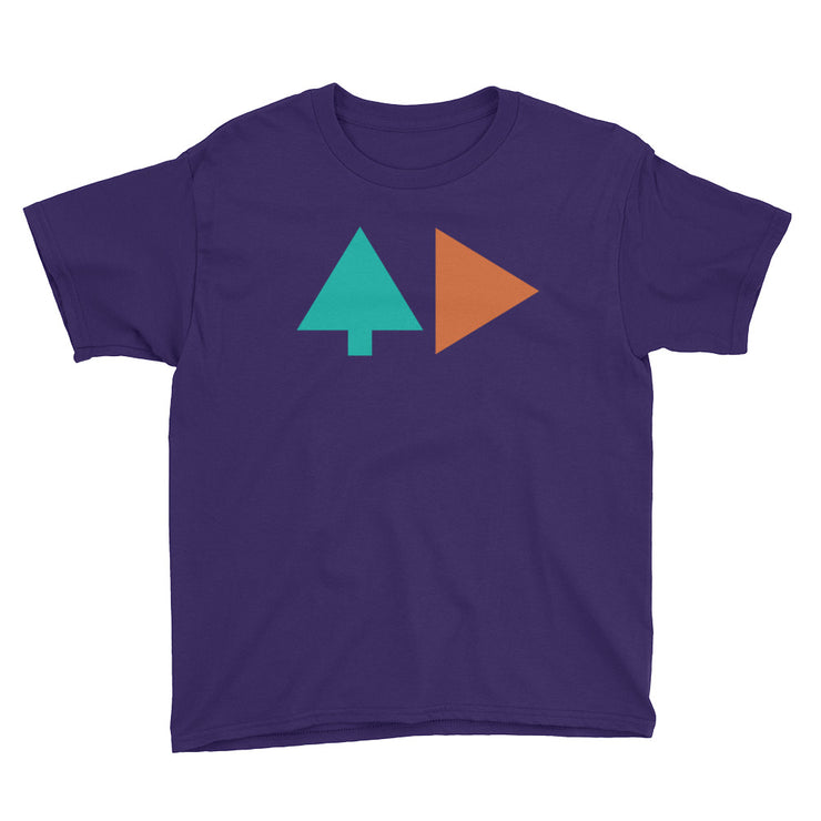 Tree and Back - Boys - Purple - Youth Short Sleeve T-Shirt