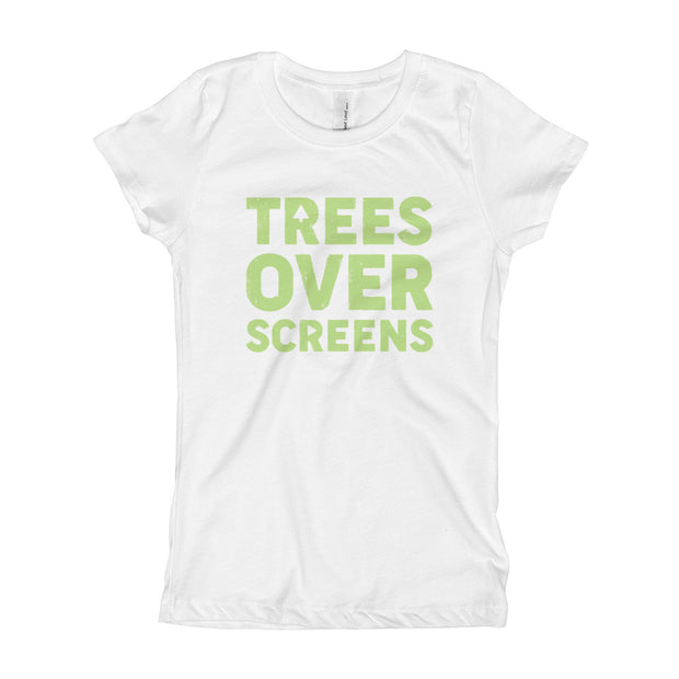 Trees Over Screens - Lime - Girls - Youth Short Sleeve T-Shirt