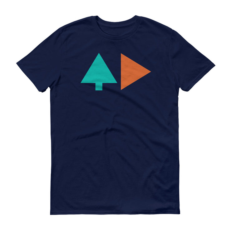 Tree and Back - Navy Blue - Unisex - Adult Short Sleeve T-Shirt