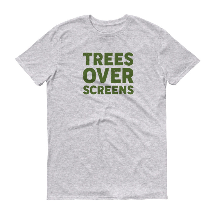 Trees Over Screens - Grey - Forest - Unisex - Adult Short Sleeve T-Shirt