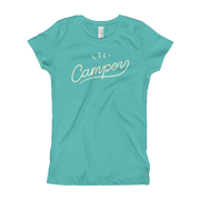 Lil' Camper - Girls -  Youth Short Sleeve T-Shirt - Teal