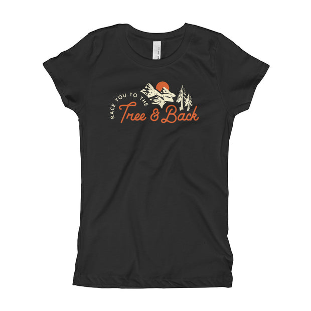 Tree And Back Mantra - Black - Girls - Youth Short Sleeve T-Shirt