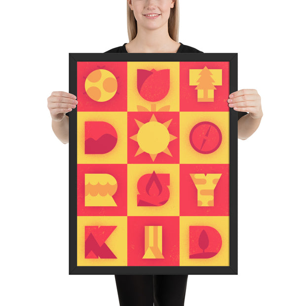 Outdoorsy Kid - Red - Yellow - Framed photo paper print