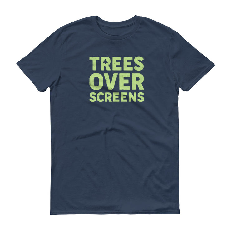 Trees Over Screens - Blue - Unisex - Adult Short Sleeve T-Shirt