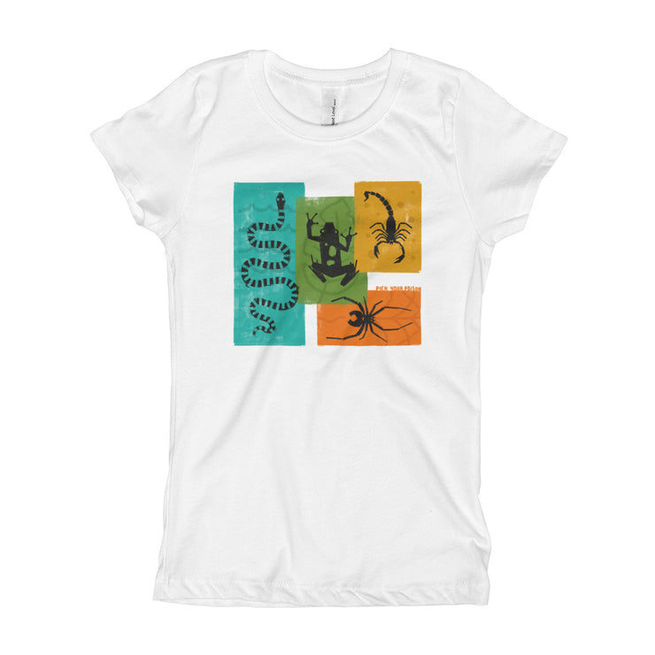 Apex Animals - White - Pick Your Poison - Girls - Youth Short Sleeve T-Shirt