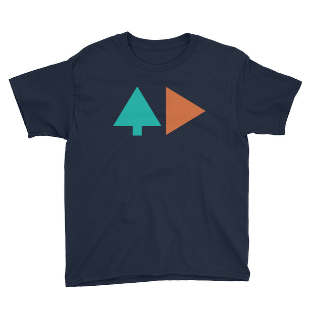 Tree and Back - Boys - Navy - Youth Short Sleeve T-Shirt