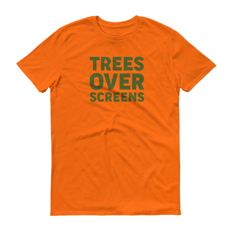 Trees Over Screens - Orange - Forest - Unisex - Adult Short Sleeve T-Shirt