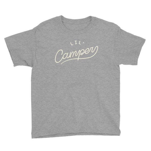 Lil' Camper - Boys - Youth Short Sleeve T-Shirt - Heather Grey