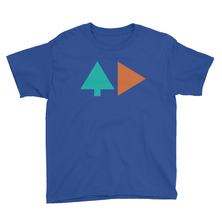 Tree and Back - Boys - Blue - Youth Short Sleeve T-Shirt