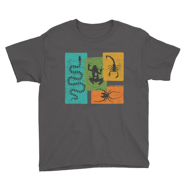 Apex Animals - Pick Your Poison - Grey - Boys - Youth Short Sleeve T-Shirt