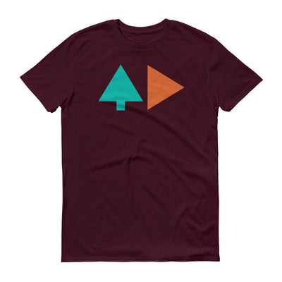 Tree and Back - Maroon Red - Unisex - Adult Short Sleeve T-Shirt