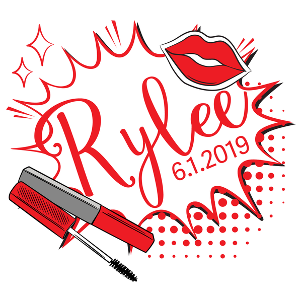 makeup lipstick lips Bat Mitzvah Logo Design