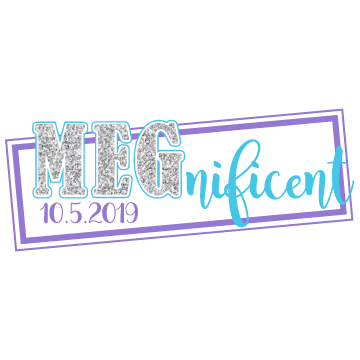 MEGnificent Silver Sparkle Bat Mitzvah Logo Design