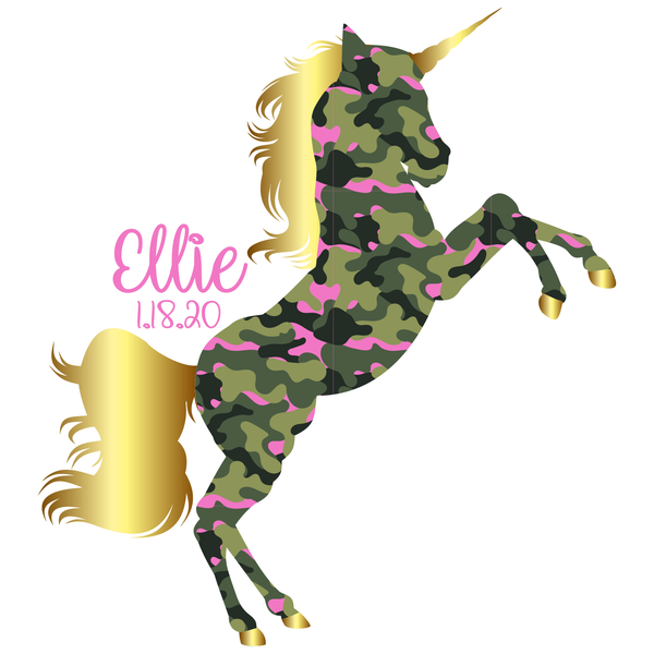 Camo Gold Unicorn Bat Mitzvah Logo