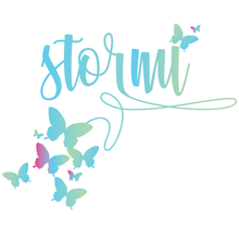 Load image into Gallery viewer, Butterfly ombre stormi bat mitzvah logo