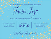 Load image into Gallery viewer, Confetti Sparkle Online Mitzvah Invitation