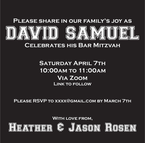 Modern Sports Online Mitzvah Invitation