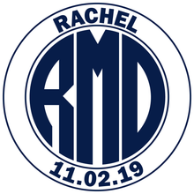 Load image into Gallery viewer, Navy Monogram Bar and Bat Mitzvah Logo Design