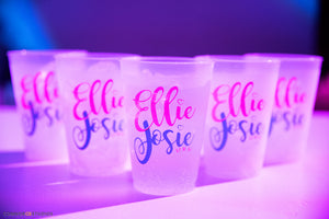 Custom Shatterproof Frosted Cup Bar and Bat Mitzvah