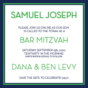 Preppy Sleek Online Mitzvah Invitation