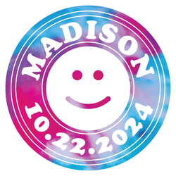 Tie-Dye Bat Mitzvah Logo Design Smiley Face