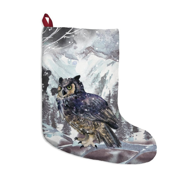 Winter Solstice Great Horned Owl Stocking - Seidora