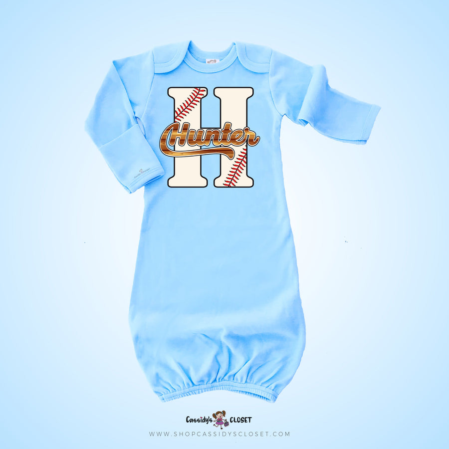 Personalized Baseball Infant Gown | Blue