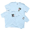 Floral Monogram Initial T Shirt Women's | Ice Blue