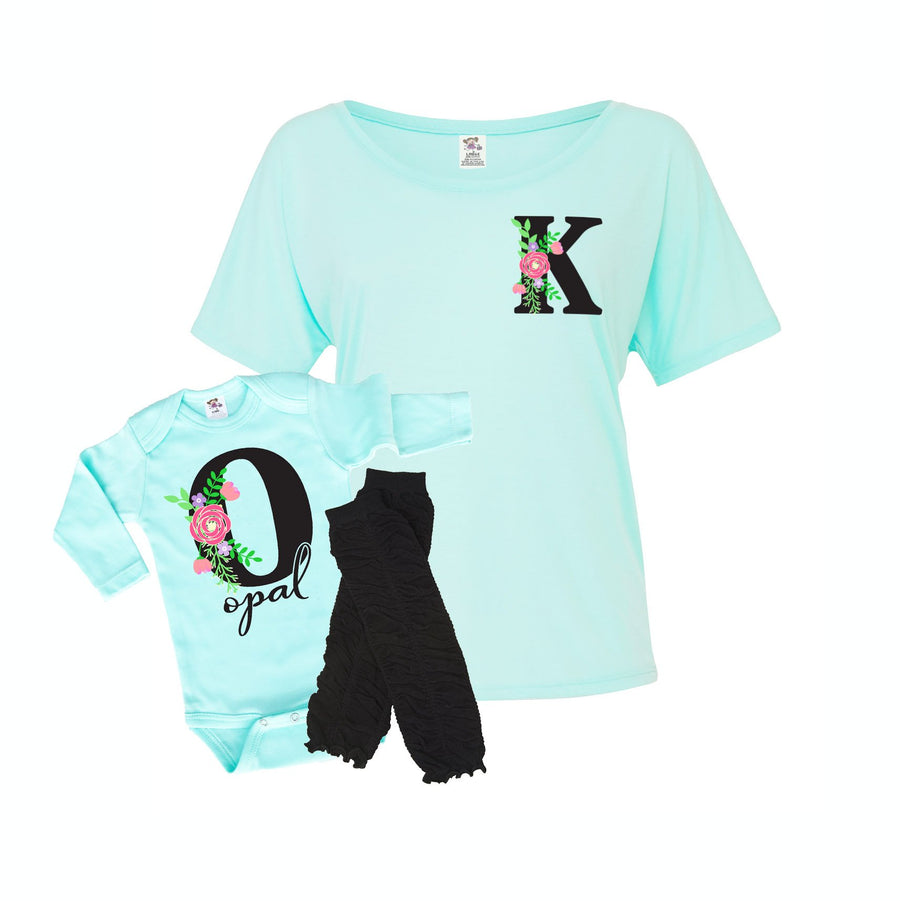 Floral Personalized Monogram Women's Slouchy Shirt | Mint