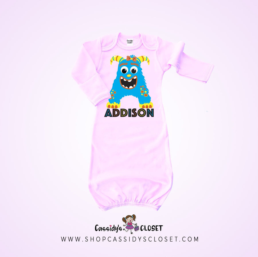 Little Monster Personalized Baby Gown | Pink