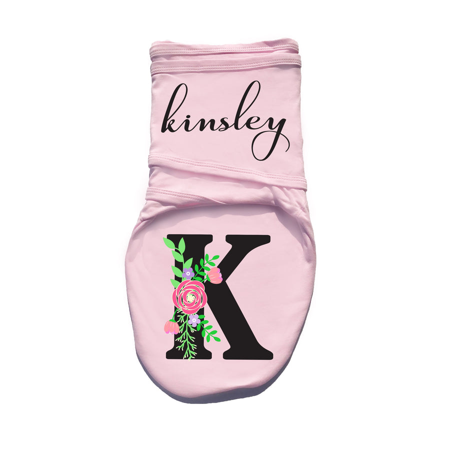 Floral Personalized Baby Swaddle Blanket | Pink