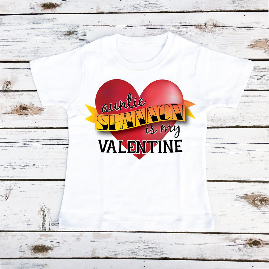 Auntie Is My Valentine Personalized | Boy's Shirt