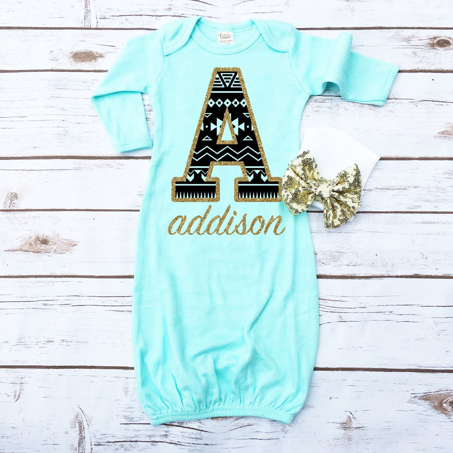 Aztec Personalized Baby Gown - Cassidy's Closet
