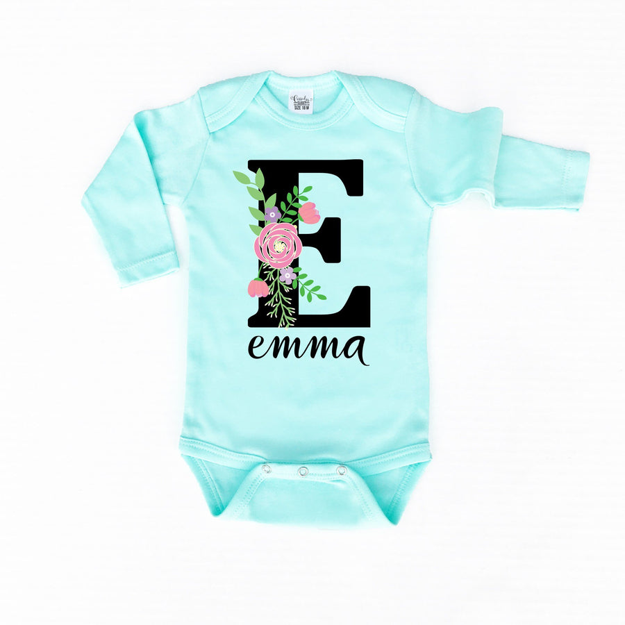 Baby Clothes - Floral Personalized Mint Bodysuit