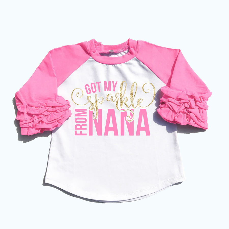 Baby Clothes - Got My Sparkle From Nana Ruffle Raglan | Girl's Shirt