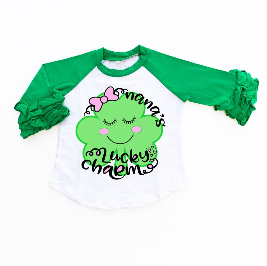 Baby Clothes - Personalized Lucky Charm Raglan | Girl's Shirt