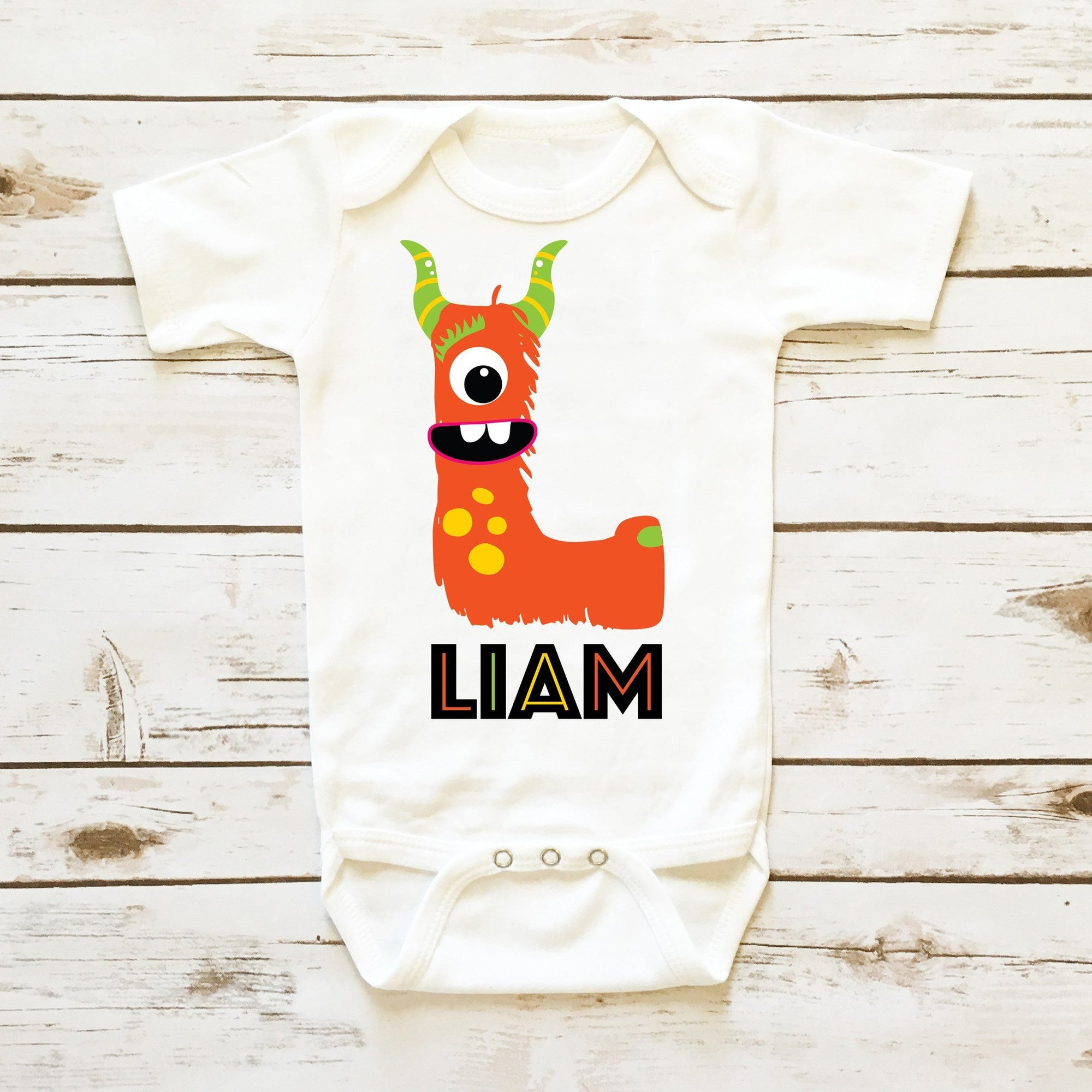 8dce0525cd148 Baby Boy Onesie   Monster Personalized Bodysuit   Boy Clothes ...