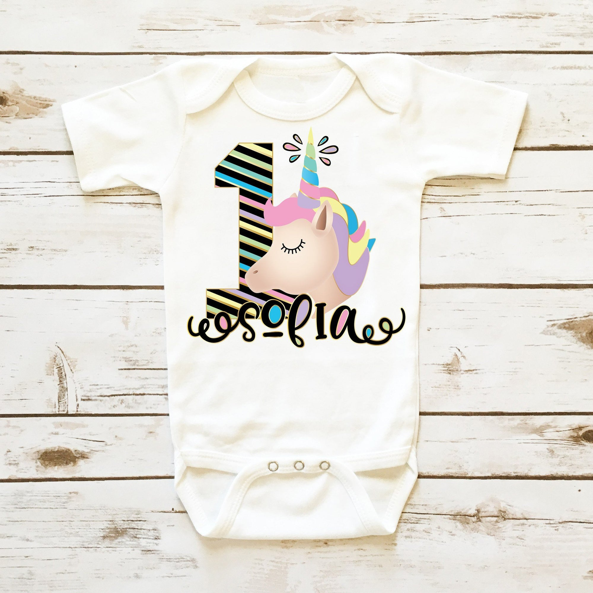 d80fe9318ea70 Unicorn First Birthday Onesie Personalized   Baby Girl Clothes ...