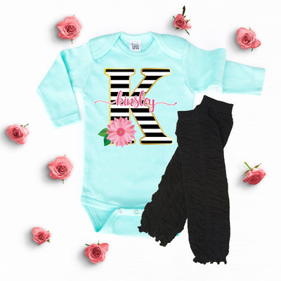 Baby Clothes - Striped Floral Personalized Mint Bodysuit