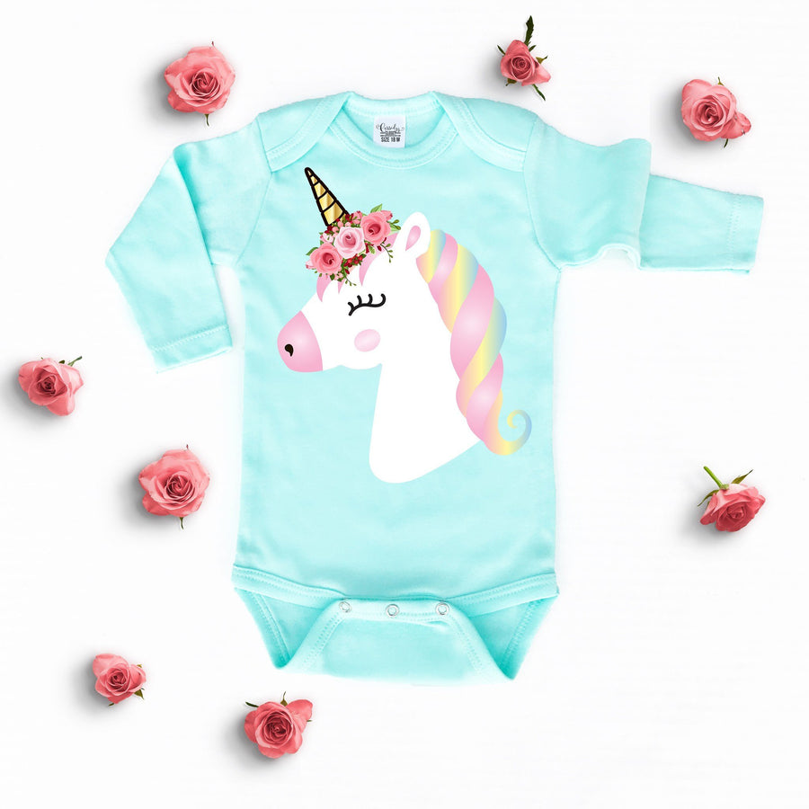 Baby Clothes - Unicorn Floral Mint Bodysuit