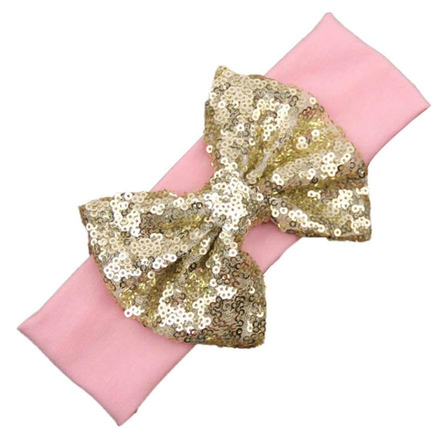 Pink and Gold Sequin Bow Headband