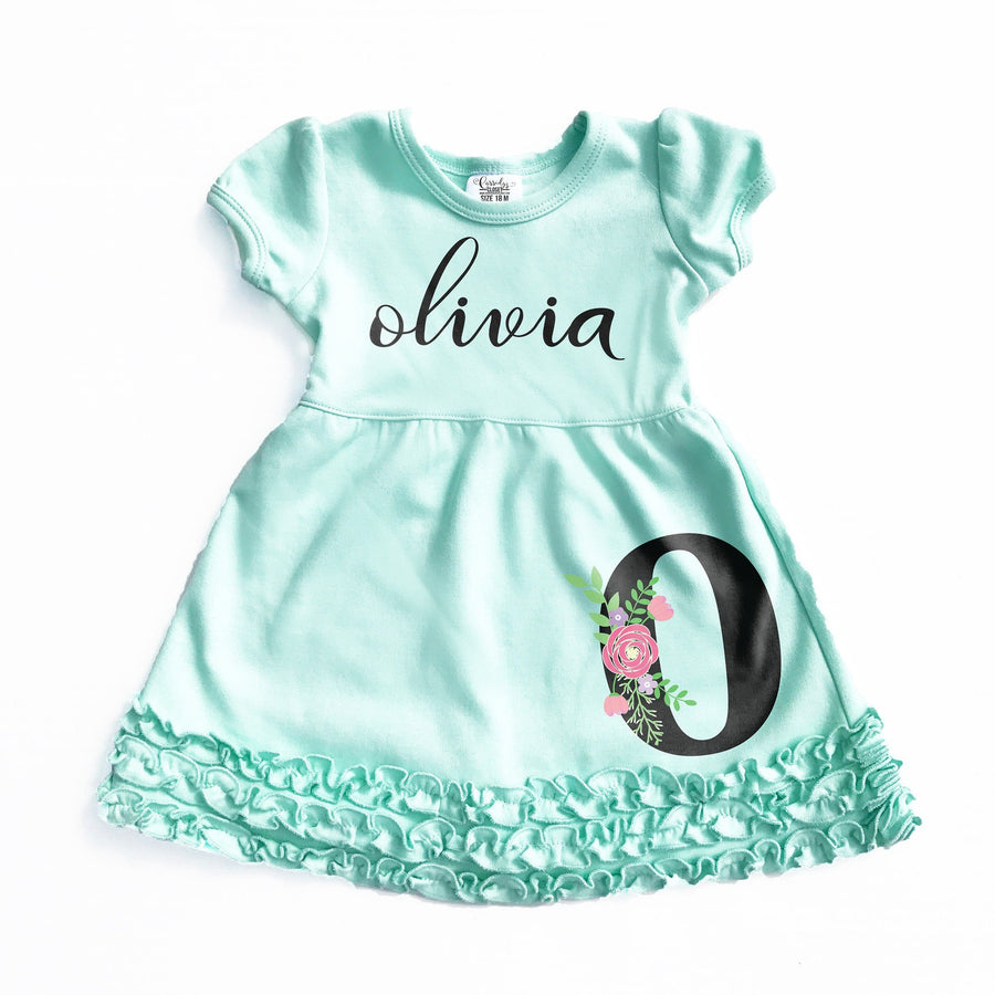 Dress - Girl's Mint Floral Personalized Dress